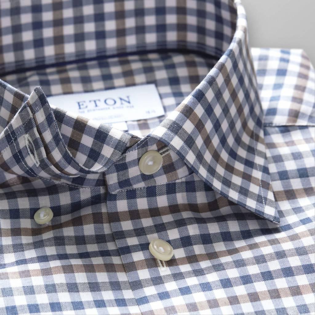 Eton Navy Check Flannel with button under collar