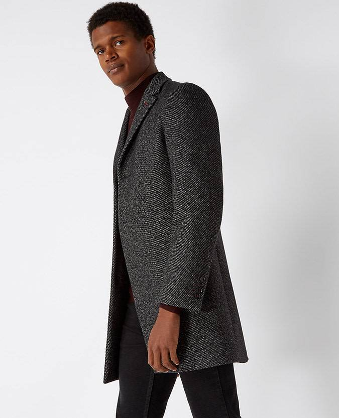 Remus Uomo Slim Charcoal Overcoat with Burgundy button trim
