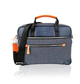 Woodland Leather Tote Bag denim and orange