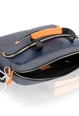 Woodland Leather Tote Bag denim and orange