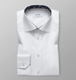 Eton White Stretch Shirt with floral Trim - contemporary