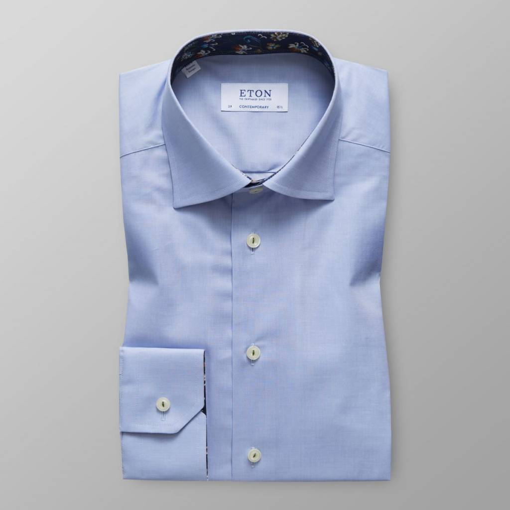 Eton Sky Blue Stretch shirt with floral detail- Contemporary