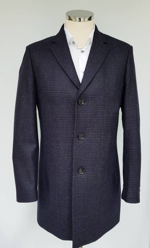 Remus Uomo Navy coat with geometric print