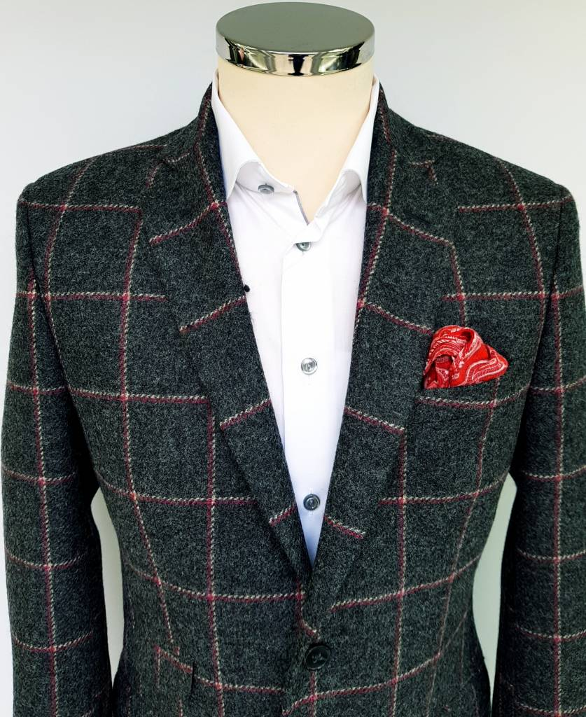 Torre Grey tweed with Cherry Check