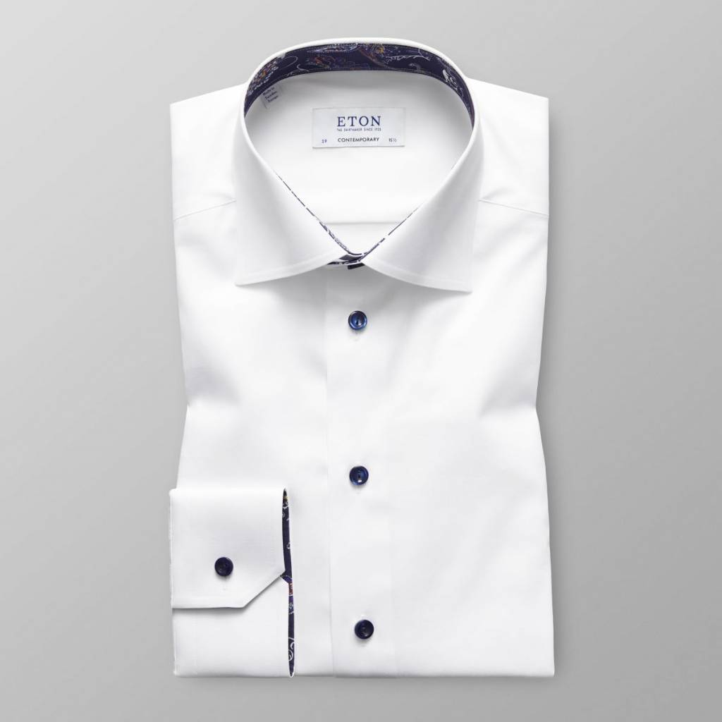 Eton White Twill with Paisley Trim