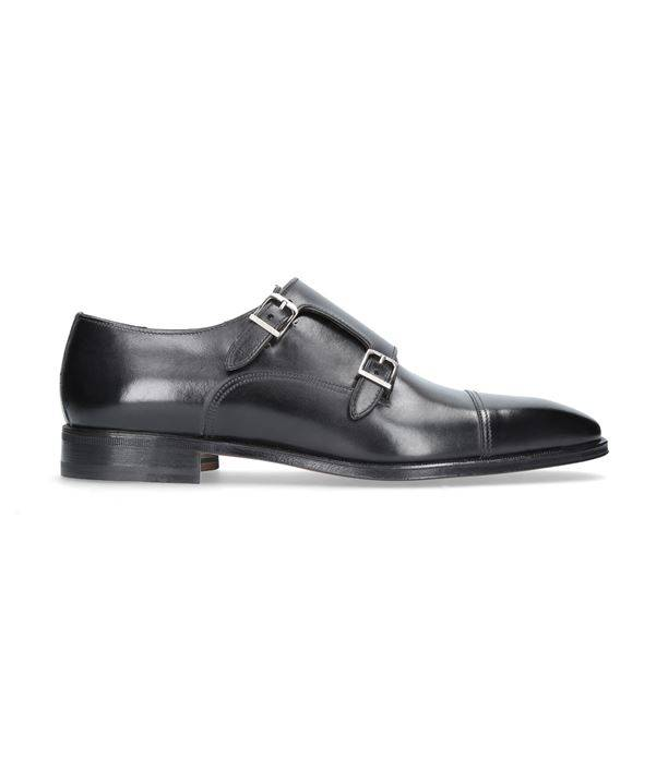 Stemar Black Calf Leather Double Monk