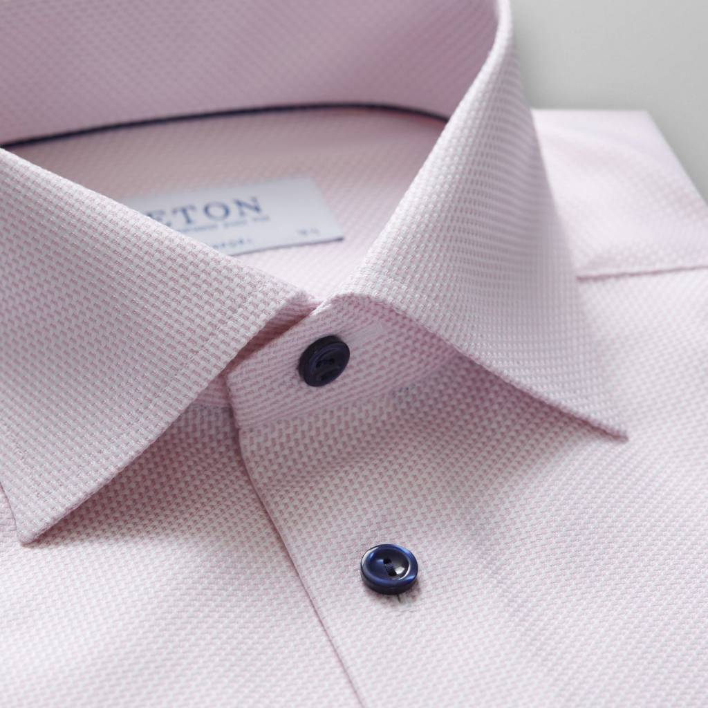 Eton Pink Textured twill with Navy Button