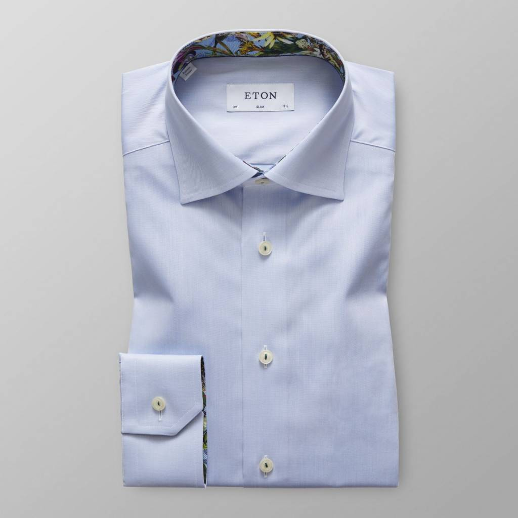 Eton Slim Fit Twill with tropical trim