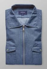 Eton Slim fit Denim Zipper Logo shirt
