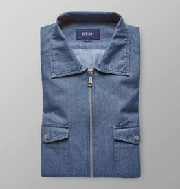 Eton Slim fit Denim Zipper Logo shirt