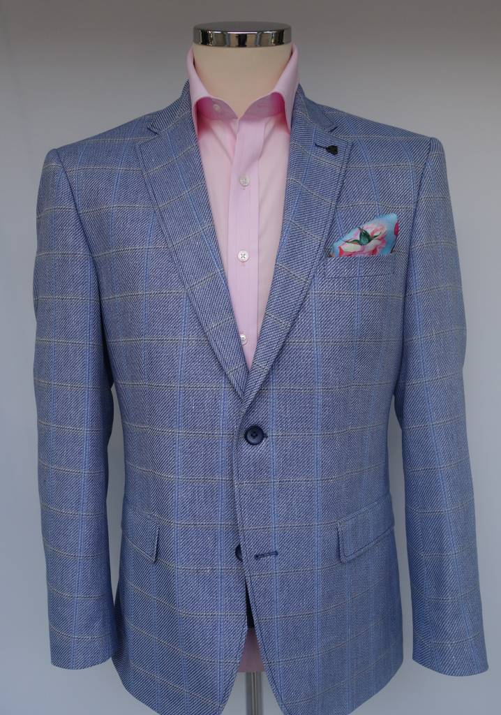 Roy Robson Sky Blue Cotton/Linen Blend Check jacket