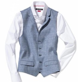 Roy Robson Light pastel check blue waistcoat