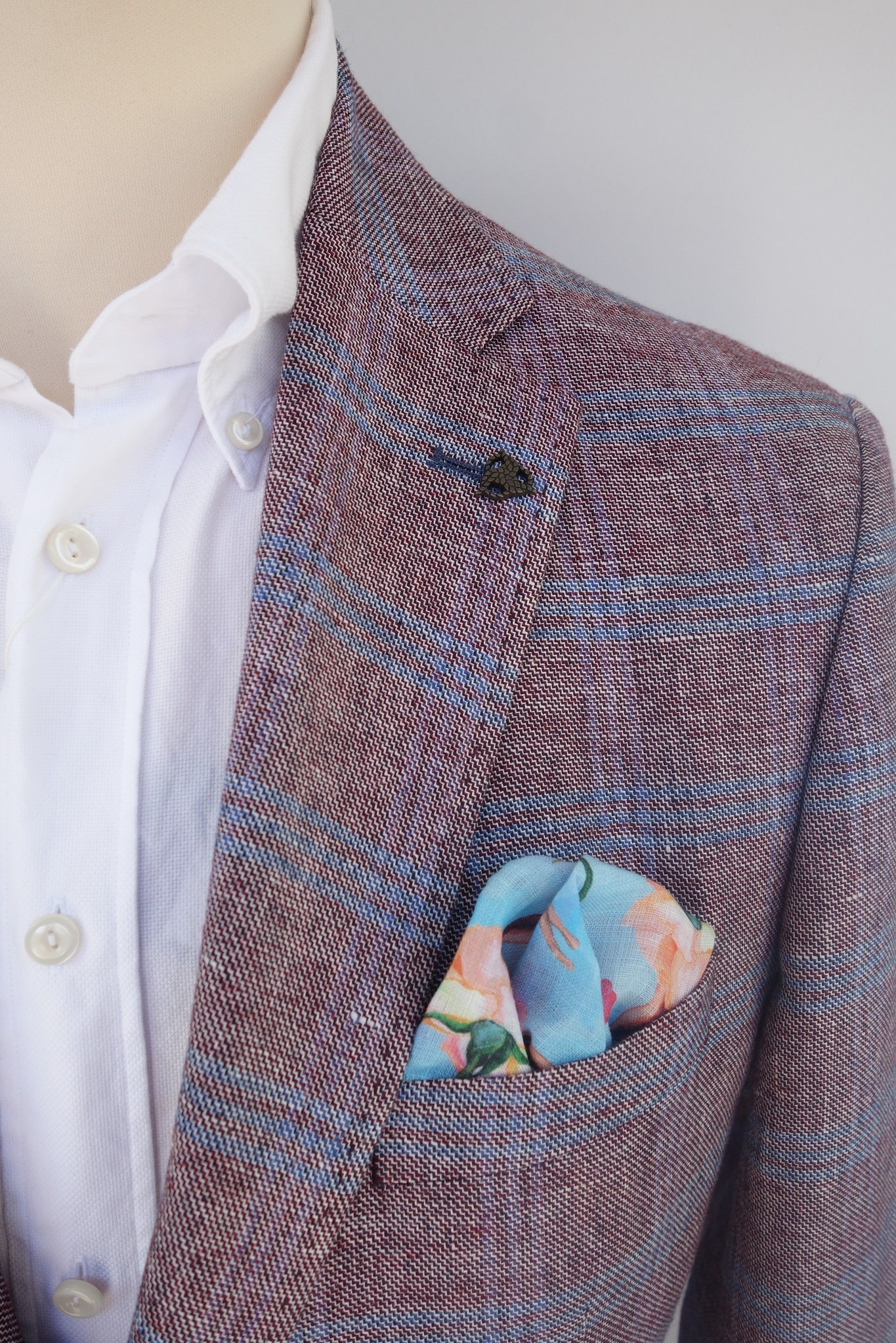 Roy Robson Dusty red jacket with pale blue check