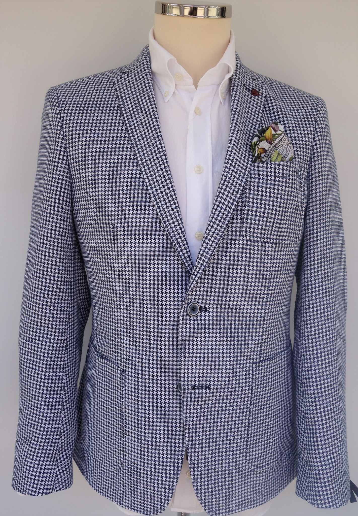 Roy Robson Lightweight navy dogtooth Jacket