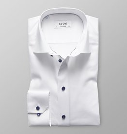 Eton White Twill Shirt with Navy Buttons