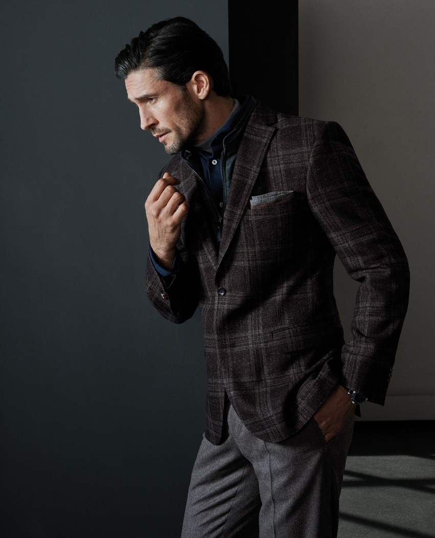 Carl Gross Barberis wool/silk brown check