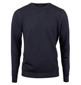 Stenstroms Navy Honeycomb Crew Neck Merino