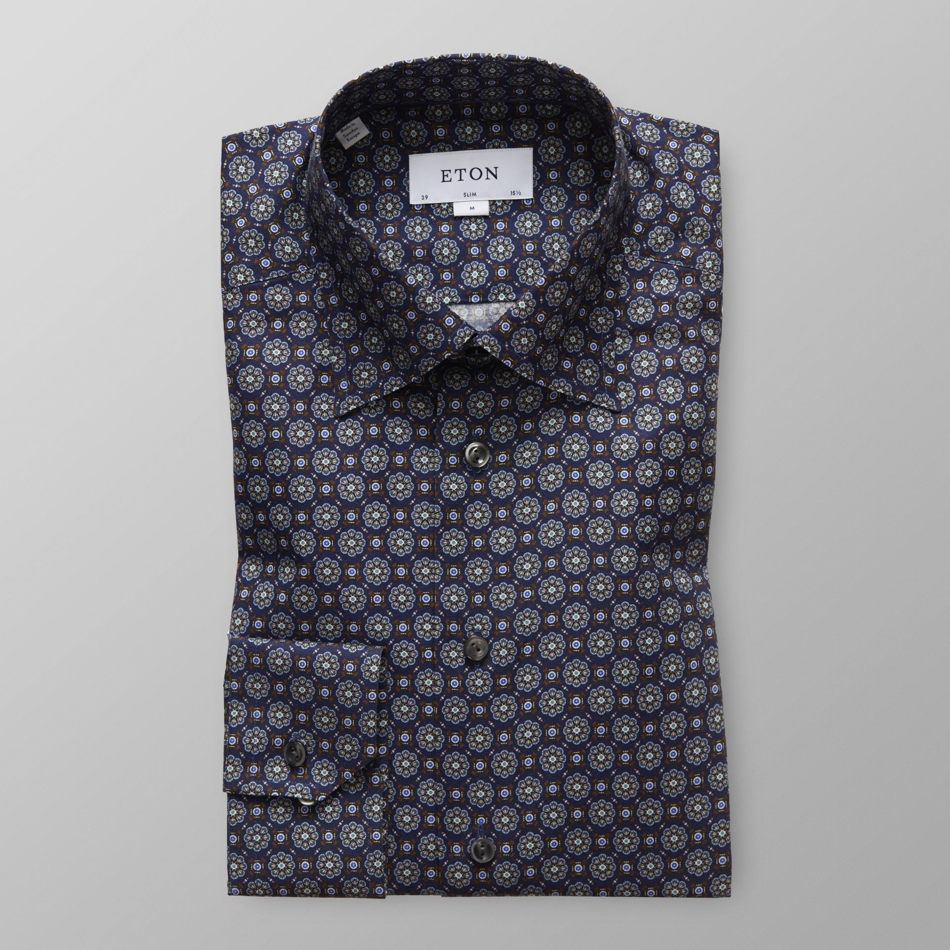 Eton Navy Medallion Print Twill