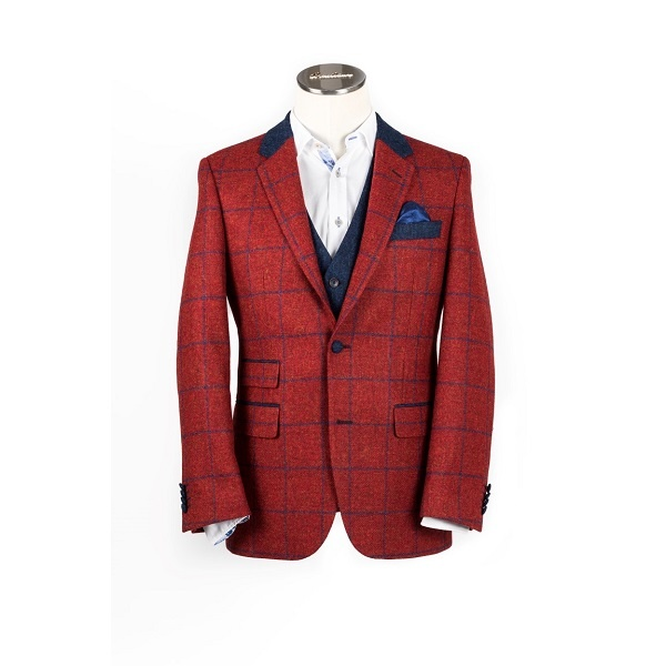Moon Scarlet Check tweed