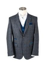 Moon Royal Blue Check Tweed
