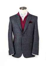 Moon Burgundy Check Tweed with contrast detailing