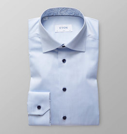 Eton Slim fit Poplin with paisley trim