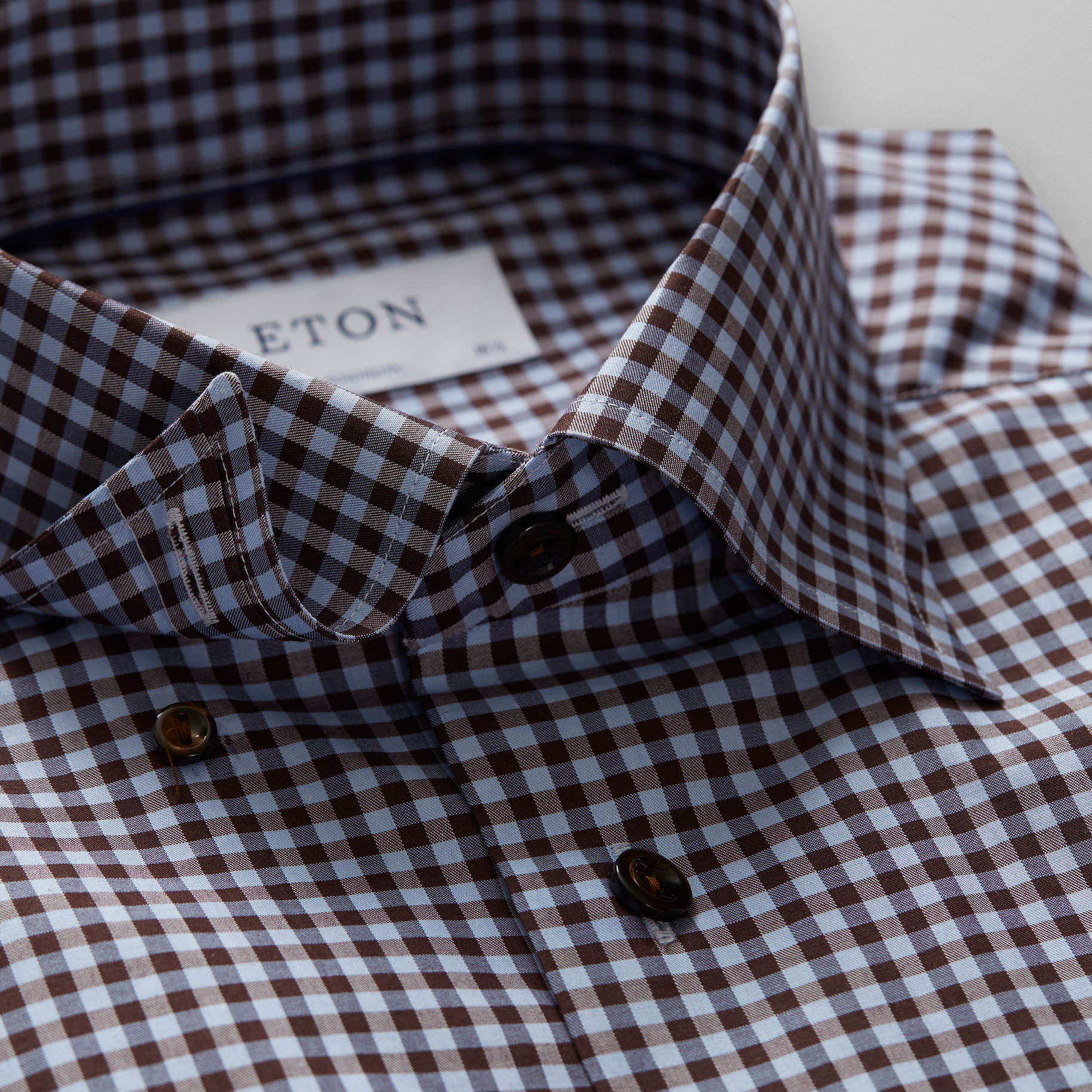 Eton Gingham with button under & contrast button