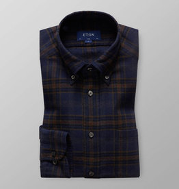 Eton Navy checked brushed cotton