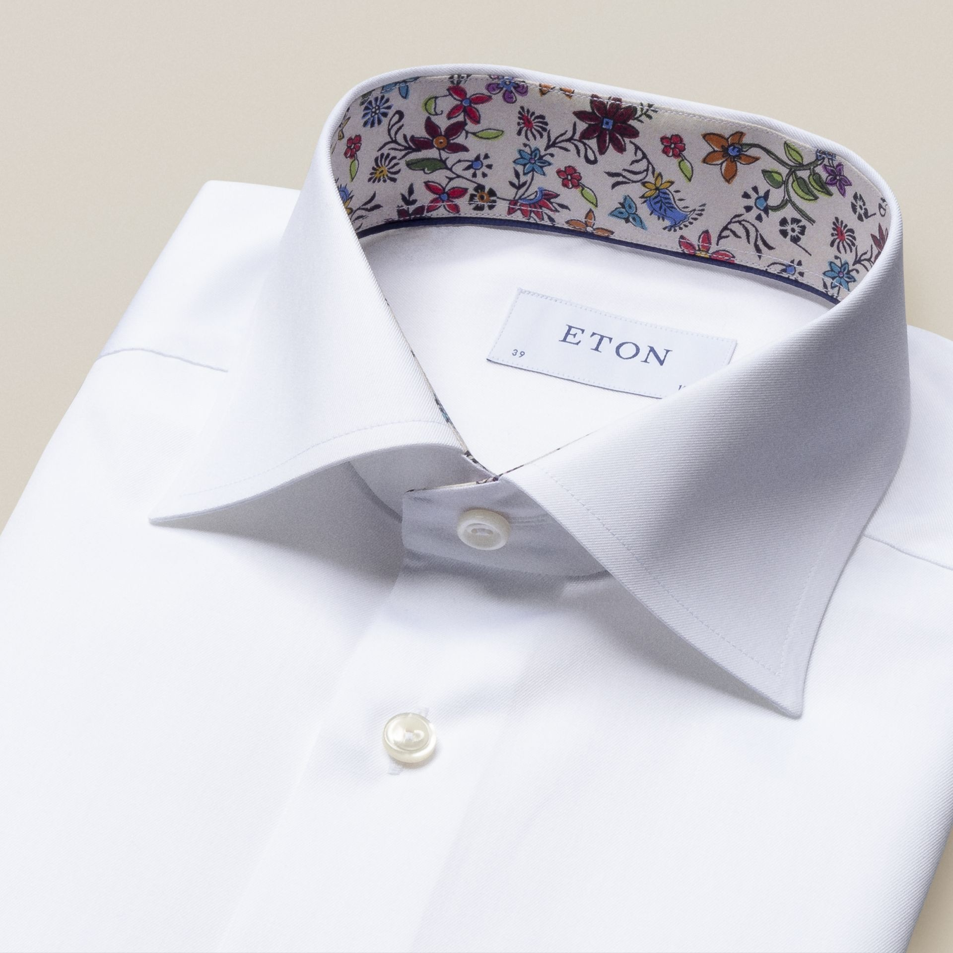 Eton Signature Twill with Multi Daisy Trim