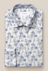 Eton Lightweight Flannel Blue Lotus Print