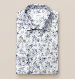 Eton Lightweight Flannel Blue Lotus Print
