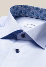 Eton Twill with navy button and floral trim