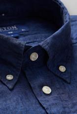 Eton Dark Blue Linen button down