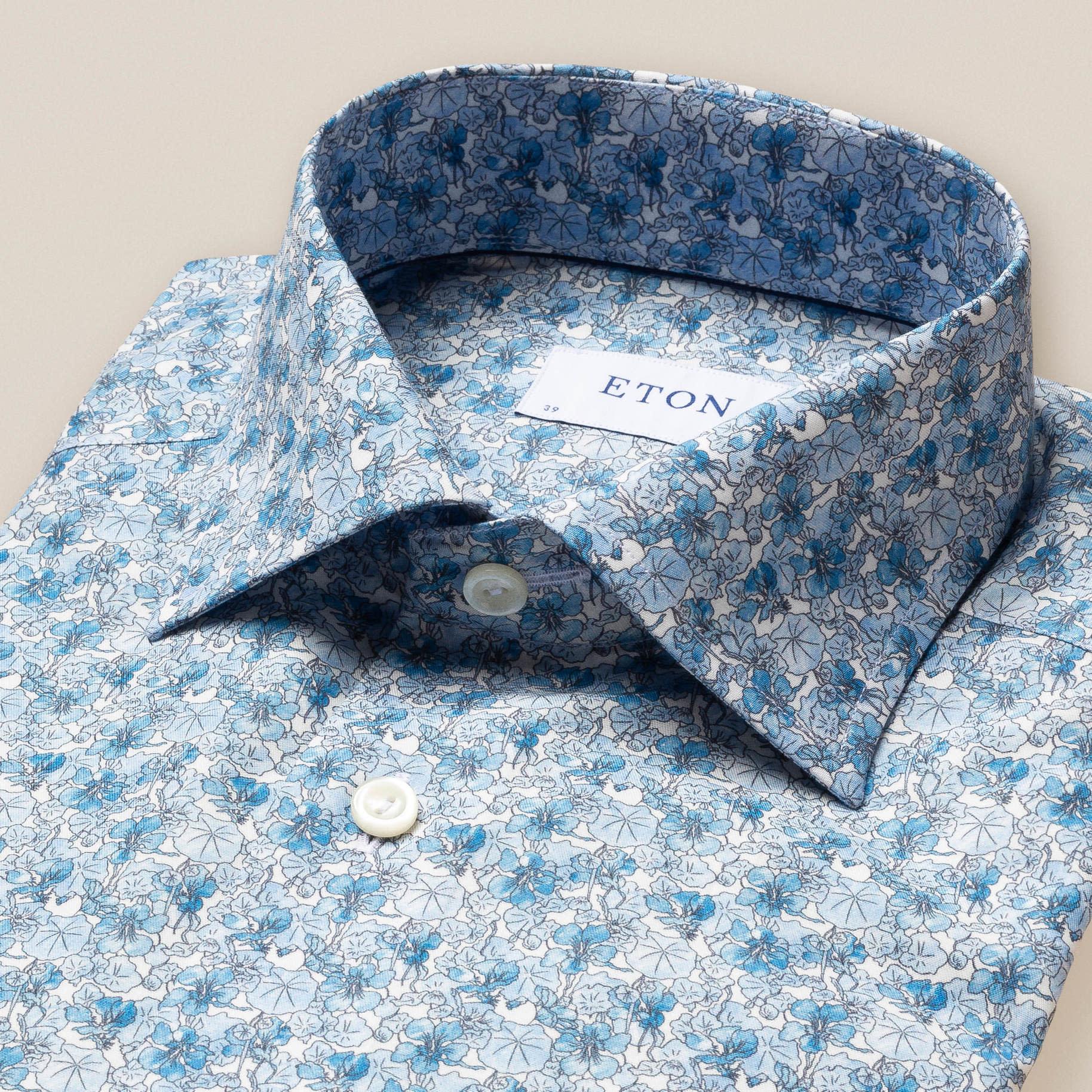 Eton Blue floral print twill shirt