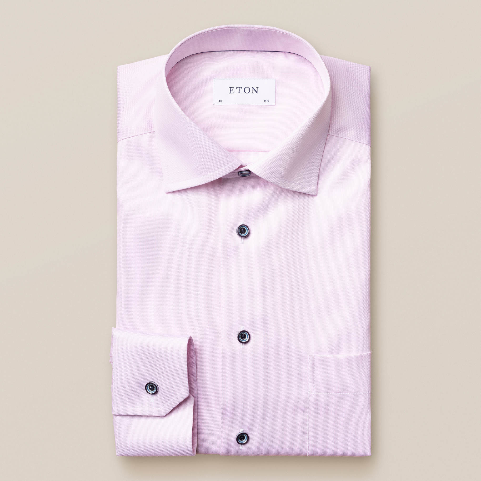 Eton Signature twill with contrast button - Slim