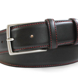 Robert Charles Black Calf Skin Leather belt with Red stitching