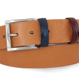 Robert Charles Tan Jean belt with patchwork loops
