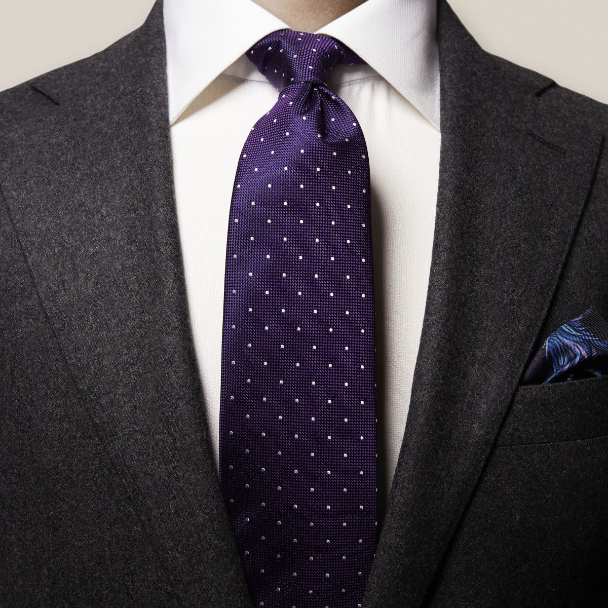 Eton Purple Polka Dot Silk Tie
