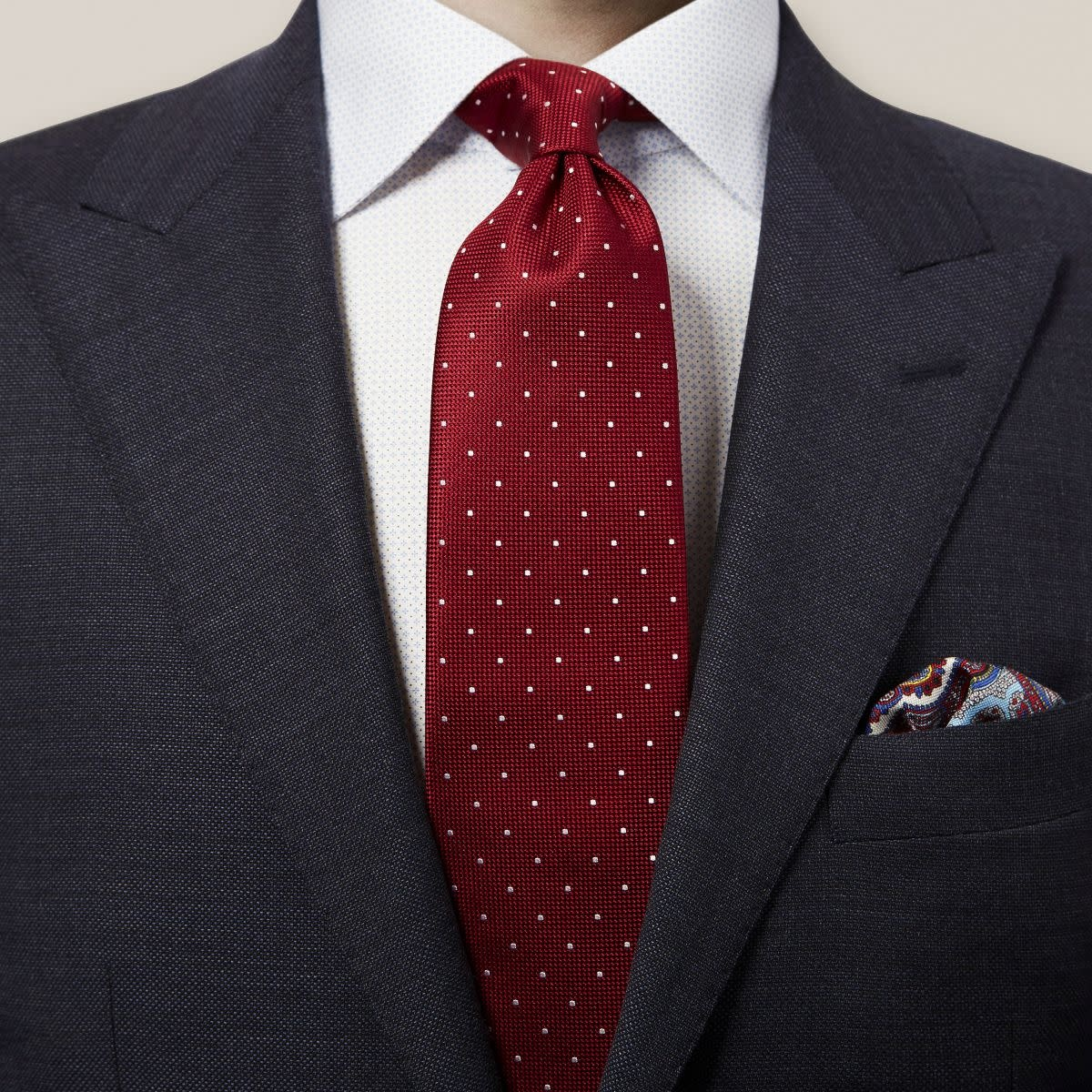 Eton Red Polka Dot Silk Tie