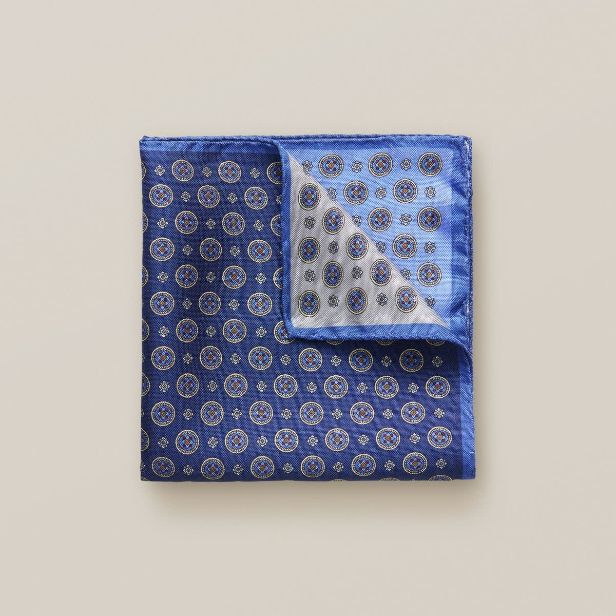 Eton Blue Four Square Silk Pocket Square
