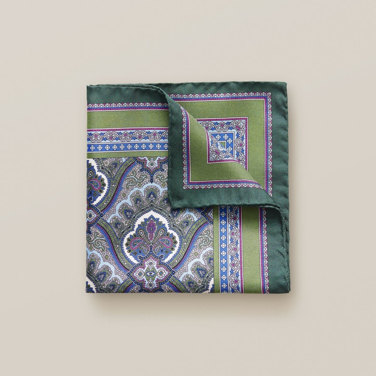 Eton Green Paisley Print Pocket Square