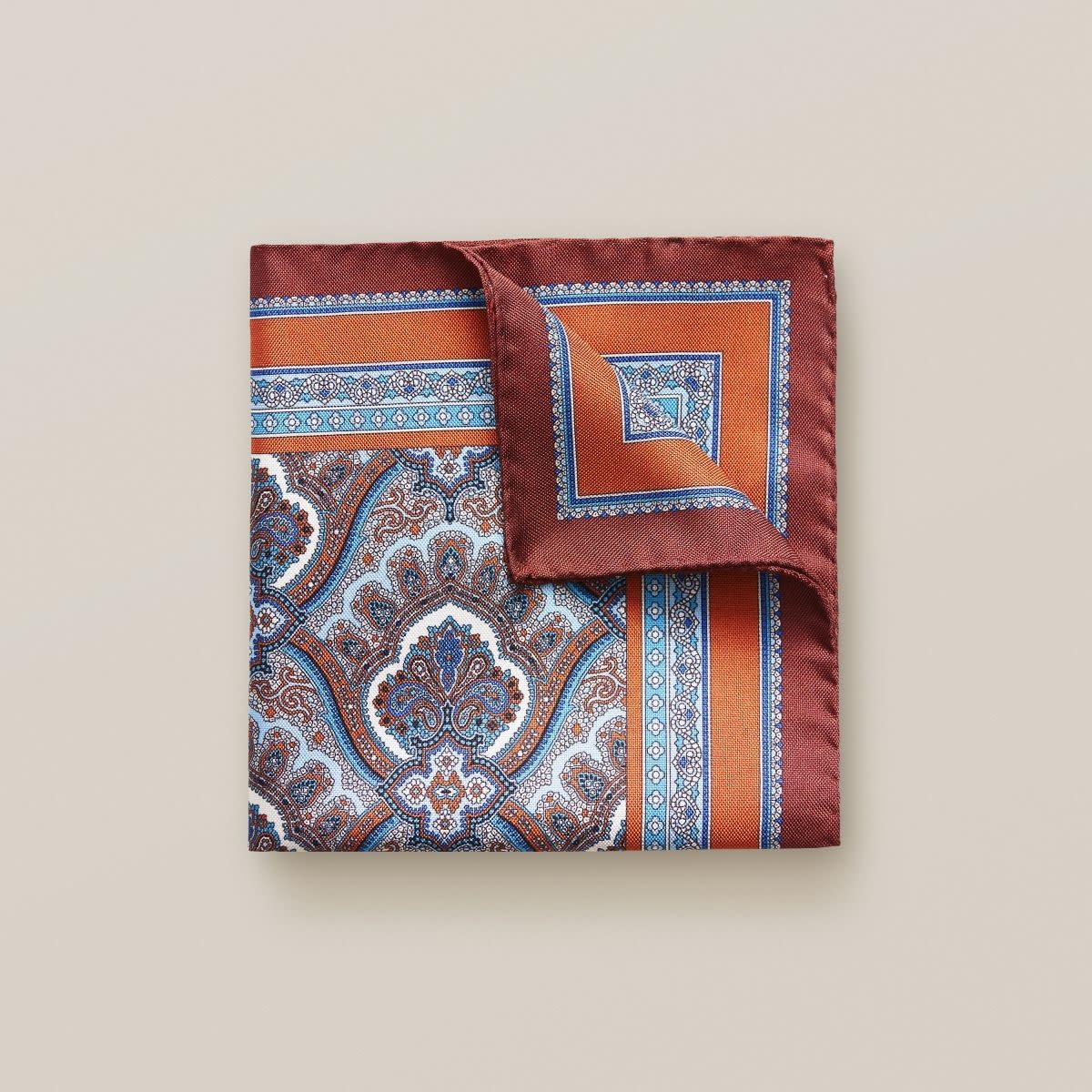 Eton Orange Paisley Print Pocket Square