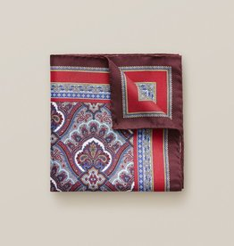Eton Red Paisley Print Pocket Square