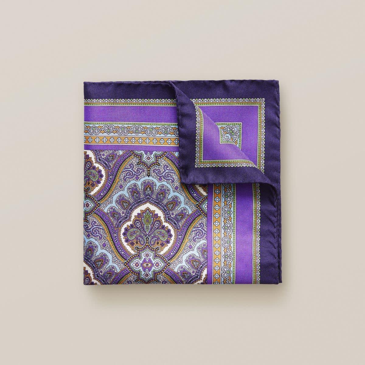 Eton Purple Paisley Pocket Square
