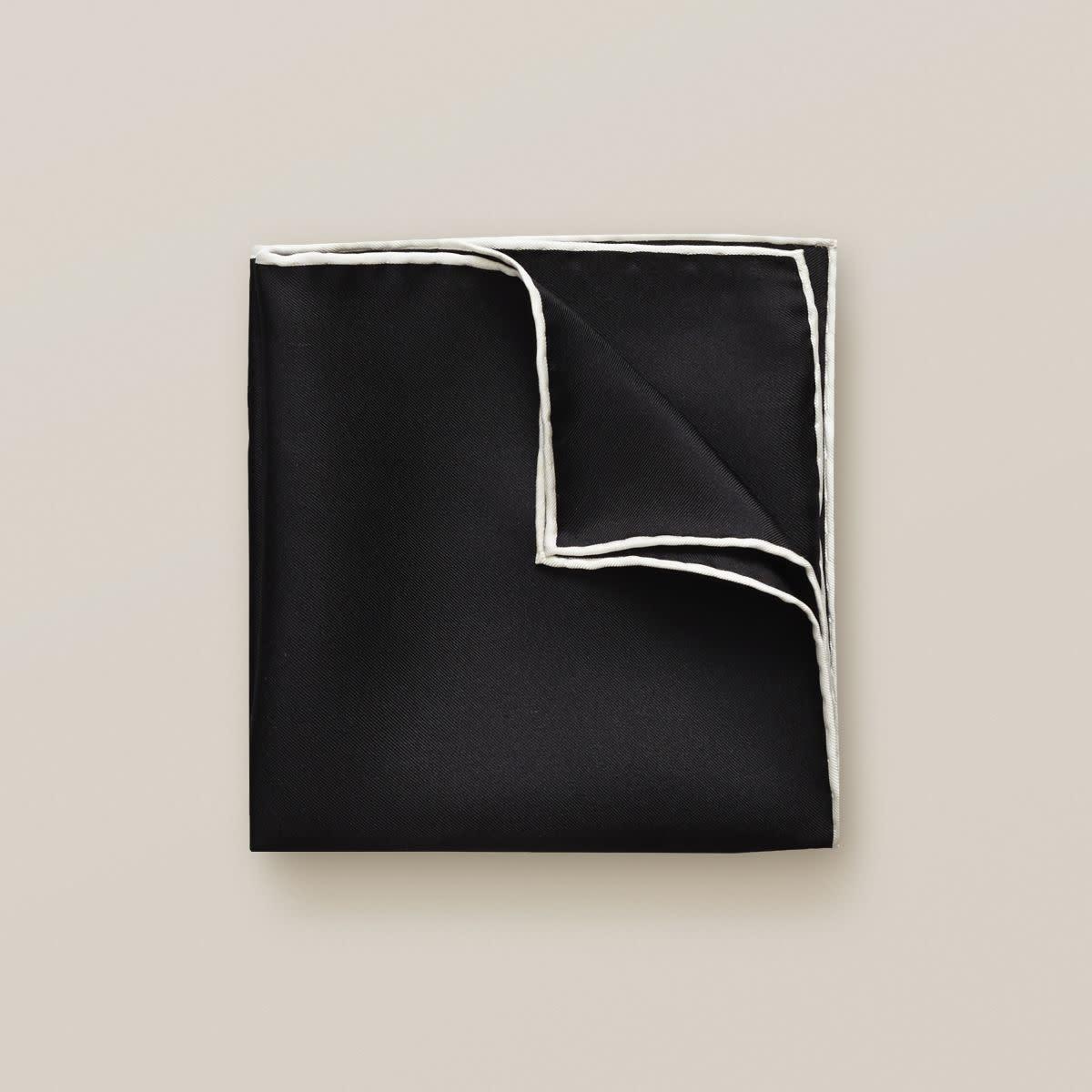 Eton Black Silk Pocket Square