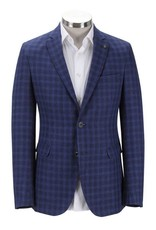 Florentino Royal Blue Neat Check Linen Jacket