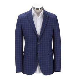 Florentino Royal Blue Neat Check Linen Jacket