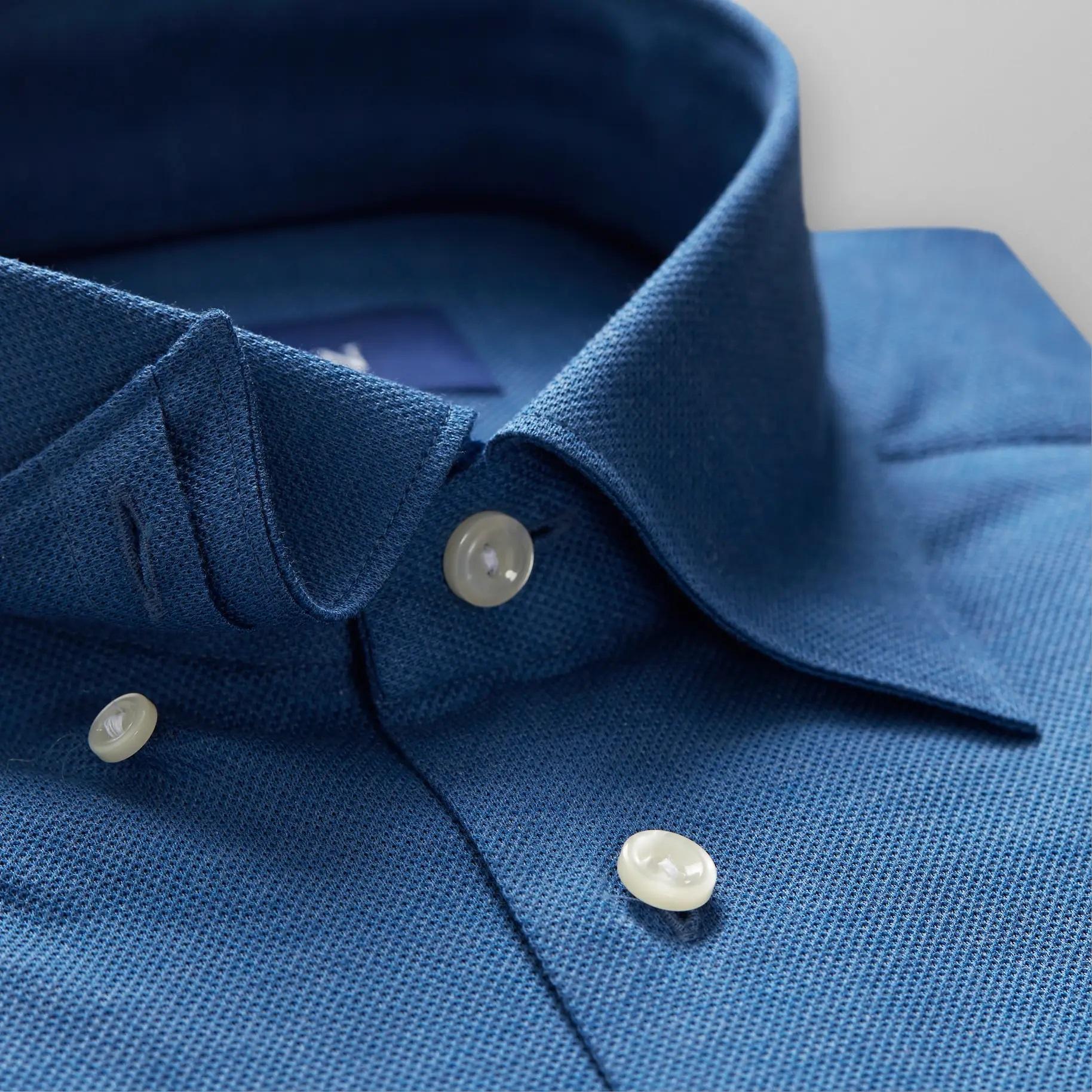 Eton Knitted Pique with button under collar