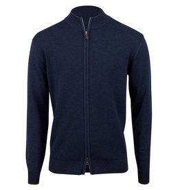 Stenstroms Blue Merino Textured Zip Cardigan