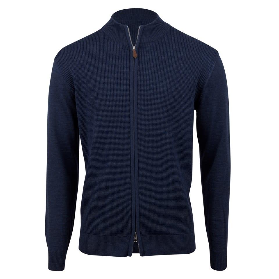 Stenstroms Blue Merino Textured Zip Cardigan
